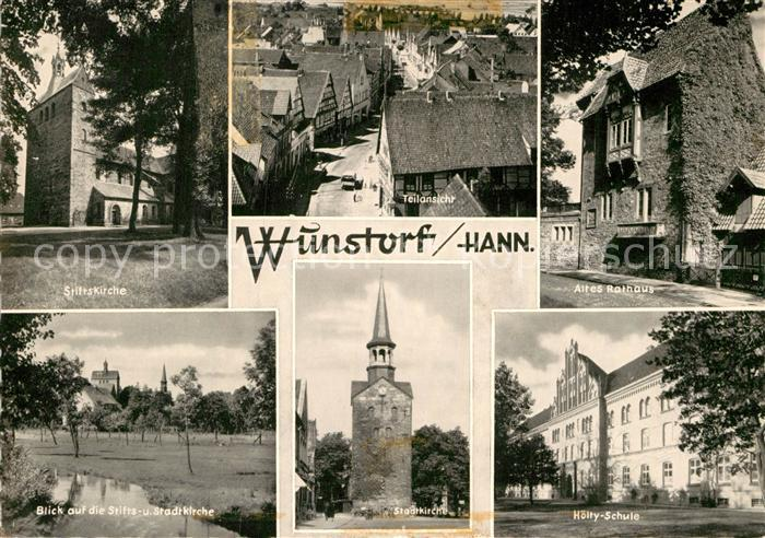 AK / Ansichtskarte Wunstorf Kirche Hauptstrasse Schule Rathaus Kat. Wunstorf