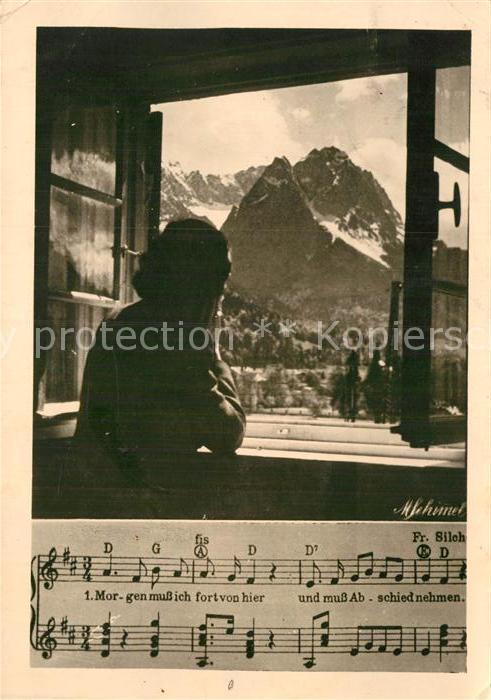 AK / Ansichtskarte Liederkarte Morgen muss ich fort von hier und muss Abschied nehmen  Kat. Musik