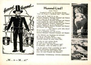 AK / Ansichtskarte Liederkarte Hummel Lied  Kat. Musik