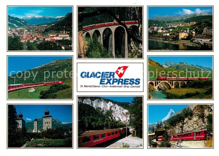 AK / Ansichtskarte Eisenbahn Glacier Express St. Moritz Zermatt Kat. Eisenbahn