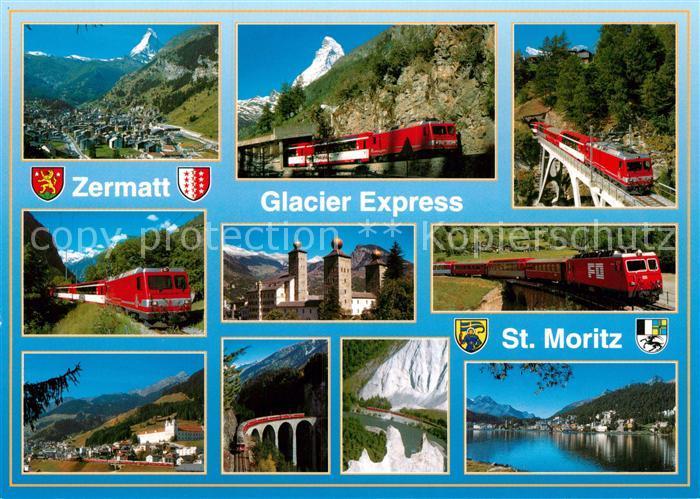 AK / Ansichtskarte Eisenbahn Glacier Express Zermatt St. Moritz Kat. Eisenbahn