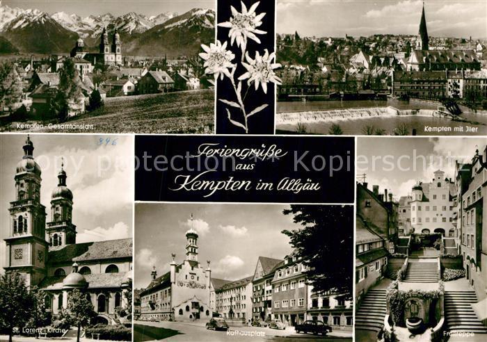 AK / Ansichtskarte Kempten Allgaeu Gesamtansicht mit Alpenpanorama Iller Wehr Freitreppe Rathausplatz St Lorenz Kirche Kat. Kempten (Allgaeu)