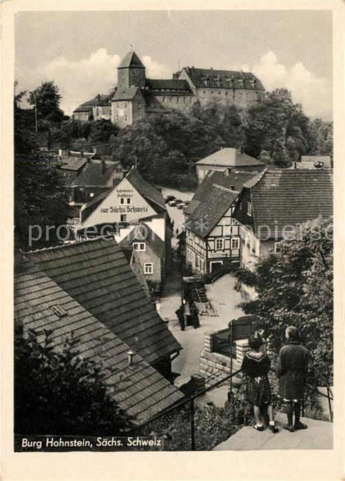 AK / Ansichtskarte Hohnstein Saechsische Schweiz Burg Hohnstein Gasthaus zur Saechs. Schweiz Kat. Hohnstein