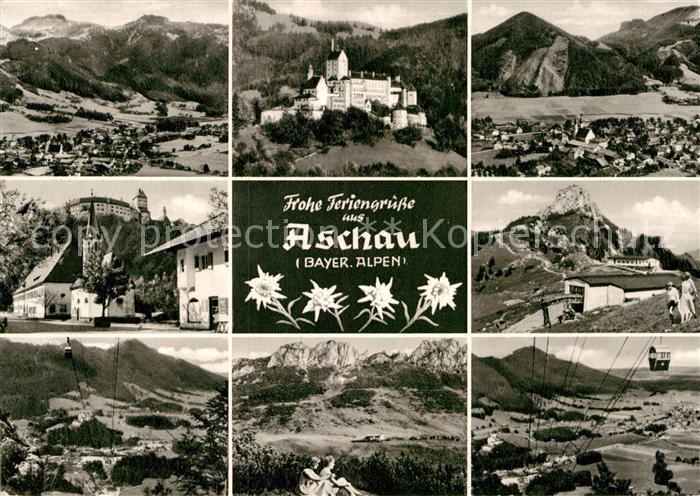 AK / Ansichtskarte Aschau Chiemgau Kirche Scloss Luftseilbahn Kat. Aschau i.Chiemgau