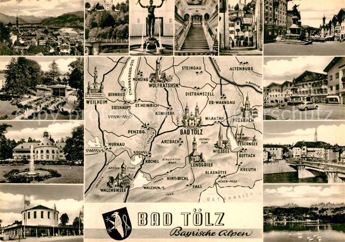 AK / Ansichtskarte Bad Toelz und Umgebung Landkarte Sehenswuerdigkeiten der Stadt Kat. Bad Toelz