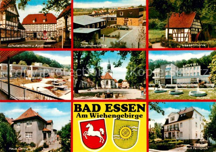 AK / Ansichtskarte Bad Essen Schullandheim Apotheke Kurmittelhaus Jugendherberge Wassermuehle Kurhotel Kirche Platz Wappen Kat. Bad Essen