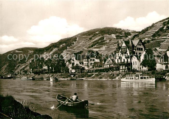 AK / Ansichtskarte Assmannshausen Krone Historischer Gasthof Uferpartie am Rhein