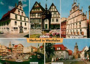 AK / Ansichtskarte Herford Neuer Markt Poeppelmann Haus Alter Markt Radewiger Kirche  Kat. Herford