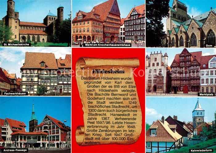 AK / Ansichtskarte Hildesheim Markt Knochenhaueramtshaus Andreas Passage Dom Kat. Hildesheim