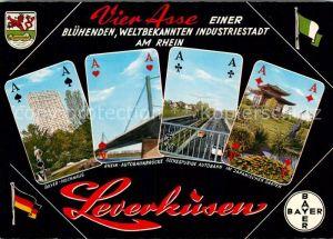 AK / Ansichtskarte Leverkusen Bayer Hochhaus Rhein Autobahnbruecke Japanischer Garten  Kat. Leverkusen