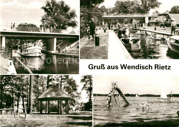 AK / Ansichtskarte Wendisch Rietz Kanal Ausflugsdampfer Badestrand am Scharmuetzelsee Kat. Wendisch Rietz