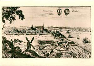 AK / Ansichtskarte Stralsund Mecklenburg Vorpommern Frankenseite nach einem Kupferstich vom Matthaeus Merian  Kat. Stralsund