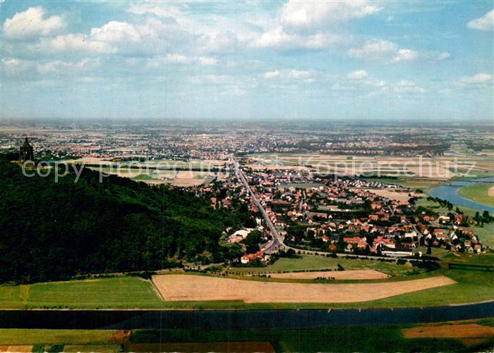 AK / Ansichtskarte Barkhausen Minden Porta Westfalica Weser Kaiser Wilhelm Denkmal Fliegeraufnahme Kat. Minden