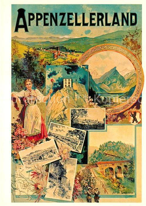 AK / Ansichtskarte Kuenstlerkarte M. Annen Plakat Verkehrsvereine Appenzellerland 1908 Kat. Kuenstlerkarte 0