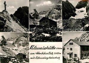 AK / Ansichtskarte Blaueishuette Gipfelkreuz Blaueisgletscher Berghaus Gebirgspanorama Kat. Hochkalter Ramsau