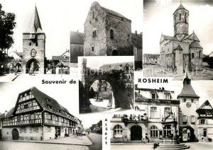 AK / Ansichtskarte Rosheim Elsass Lothringen Porte d entree Maison paienne Eglise Maison Alsacienne Place de l Hotel de Ville vieille fontaine Kat. Rosheim