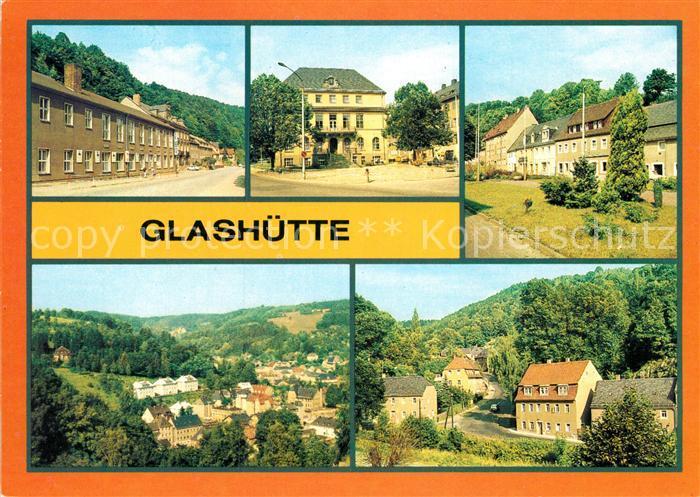AK / Ansichtskarte Glashuette Sachsen Kulturhaus Ingenieurschle Markt Teilansicht Luchauer Strasse Kat. Glashuette Sachsen