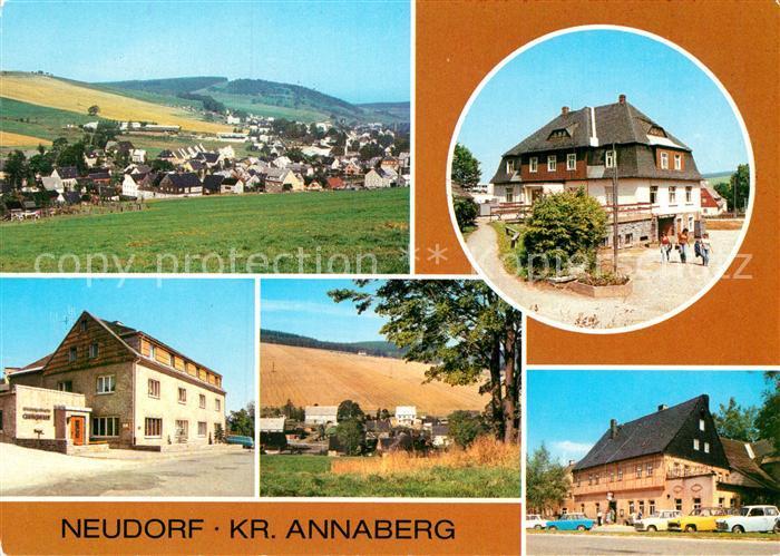 AK / Ansichtskarte Neudorf Annaberg Panorama HOG Vierenstrasse Gaststaette Gute Quelle Teilansicht Haus des Volkes
