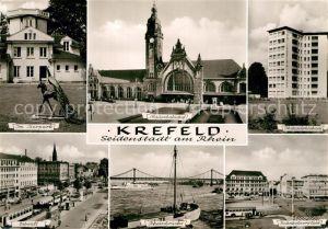 AK / Ansichtskarte Krefeld Tierpark Skulptur Ostwall Strassenbahn Hauptbahnhof Rheinbruecke Bahnhofsvorplatz Kat. Krefeld