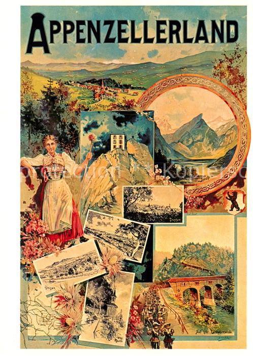 AK / Ansichtskarte Kuenstlerkarte M. Annen Plakat Verkehrsvereine Appenzellerland 1908 Kat. Kuenstlerkarte