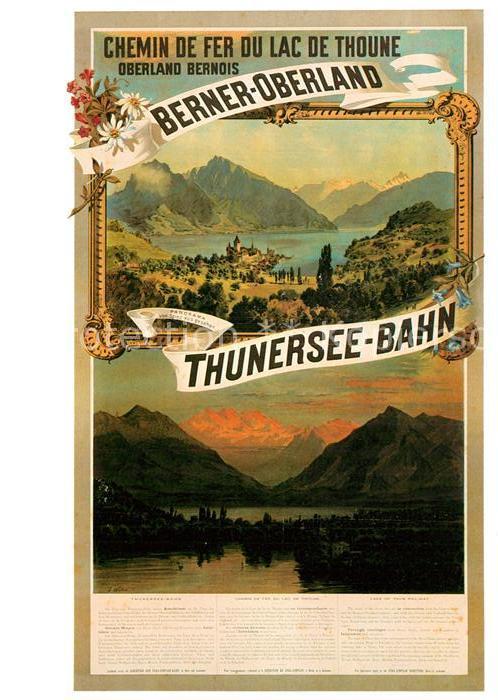AK / Ansichtskarte Eisenbahn Thunersee Bahn Plakat 1893 J. Weber  Kat. Eisenbahn 0