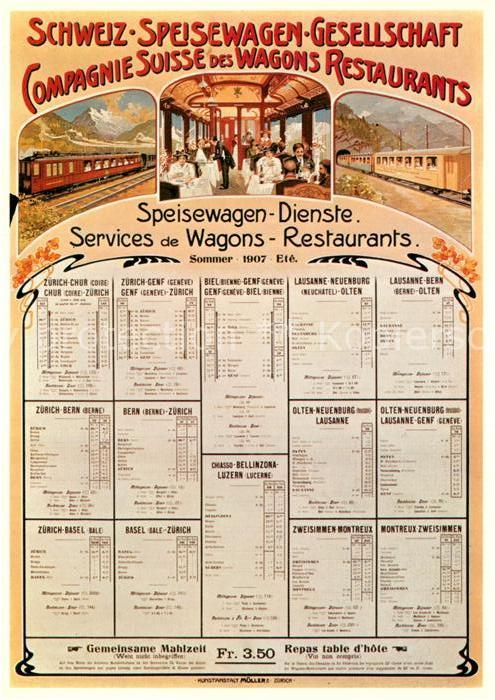 AK / Ansichtskarte Eisenbahn Plakat Speisewagengesellschaft 1907 Fahrplan  Kat. Eisenbahn 0