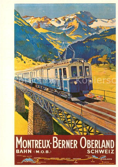 AK / Ansichtskarte Eisenbahn Affiche Chemins de Fer Montreux Oberland Bernois 1934 Edouard Elzingre  Kat. Eisenbahn 0