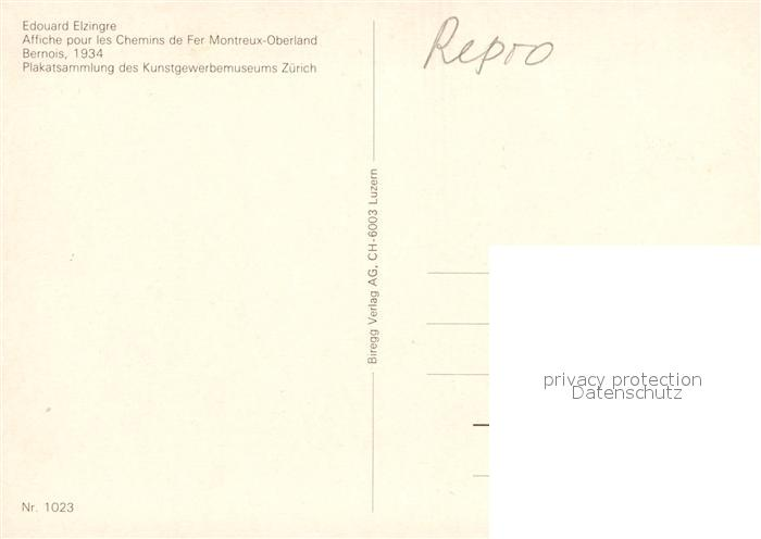 AK / Ansichtskarte Eisenbahn Affiche Chemins de Fer Montreux Oberland Bernois 1934 Edouard Elzingre  Kat. Eisenbahn 1