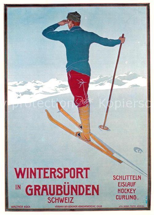 AK / Ansichtskarte Skifahren Plakat Verband Buendner Verkehrsvereine Chur 1907 Walter Koch  Kat. Sport