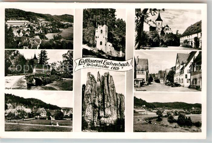 AK / Ansichtskarte Eschenbach Mittelfranken Heroldsturm Rifflerfelsen Teilansicht Bruecke Kat. Pommelsbrunn