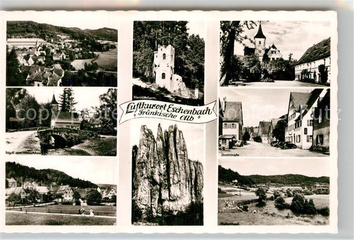 AK / Ansichtskarte Eschenbach Mittelfranken Heroldsturm Rifflerfelsen Dorfstrasse Teilansicht  Kat. Pommelsbrunn