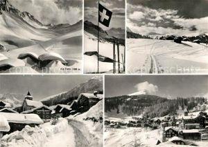 AK / Ansichtskarte Tschiertschen Panorama Wintersportort Schweizer Alpen Schweizer Flagge Kat. Tschiertschen