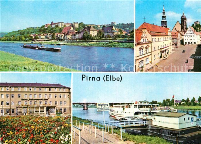 AK / Ansichtskarte Pirna Elbepartie Markt Rathaus Hotel Schwarzer Adler Dampferanlegestelle Kat. Pirna