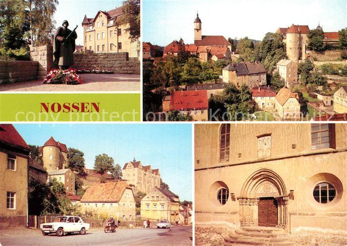 AK / Ansichtskarte Nossen Ehrenmal der Helden der Sowjetarmee Teilansicht Schloss Stadtkirche mit Portal aus Altzella Kat. Nossen