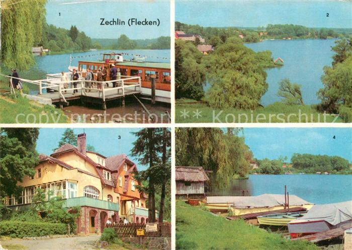 AK / Ansichtskarte Zechlin Flecken Dampferanlegestelle Am Schwarzen See FDGB Erholungsheim Elsenhoehe Seepartie
