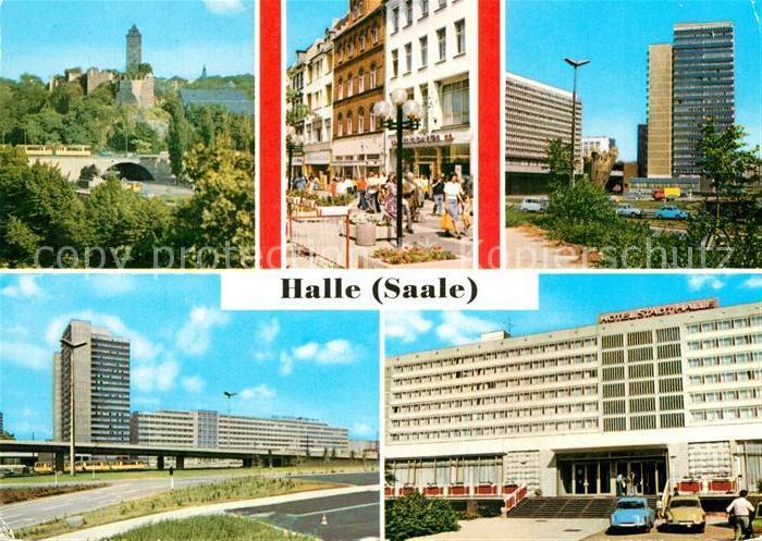 AK / Ansichtskarte Halle Saale Burg Giebichenstein Klement Gottwald Str Thaelmannplatz Interhotel Stadt Halle Kat. Halle