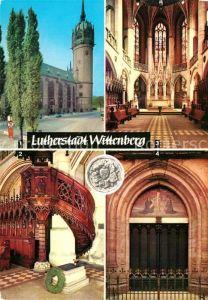 AK / Ansichtskarte Wittenberg Lutherstadt Schlosskirche mit Thesentuer Schlosskirche Luthers Grab Kat. Wittenberg