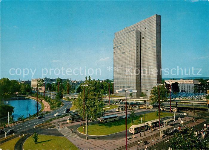 AK / Ansichtskarte Duesseldorf Rhein Jan Wellem Platz mit Thyssenhaus