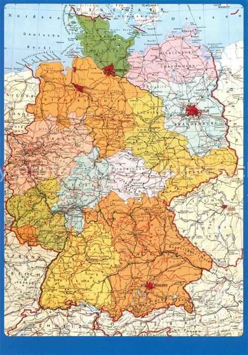 AK / Ansichtskarte Landkarte auf Ak Deutschland  Kat. Besonderheiten