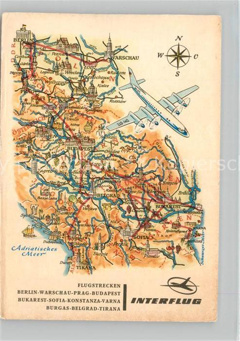 AK / Ansichtskarte Flugzeuge Zivil Interflug Landkarte Berlin Warschau Belgrad Tirana Sofia  Kat. Airplanes Avions