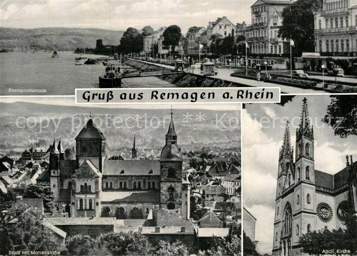 AK / Ansichtskarte Remagen Rheinpromenade Stadtbild mit Marienkirche Apollinariskirche Kat. Remagen