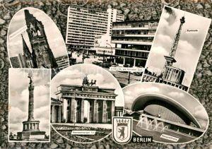 AK / Ansichtskarte Berlin Gedaechtniskirche Siegessaeule Bahnhof Zoo Brandenburger Tor Funkturm Kongresshalle Kat. Berlin