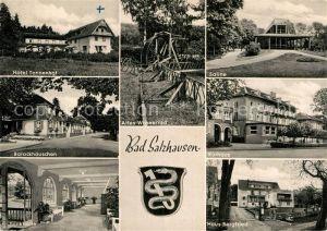 AK / Ansichtskarte Bad Salzhausen Hotel Tannenhof Barockhaeuschen Trinkhalle Wasserrad Saline Kurhaus Haus Bergfried Wappen Kat. Nidda