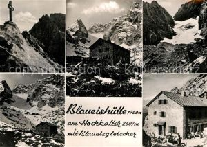 AK / Ansichtskarte Blaueishuette Berghaus am Hochkalter mit Blaueisgletscher Gipfelkreuz Gebirgspanorama Kat. Hochkalter Ramsau