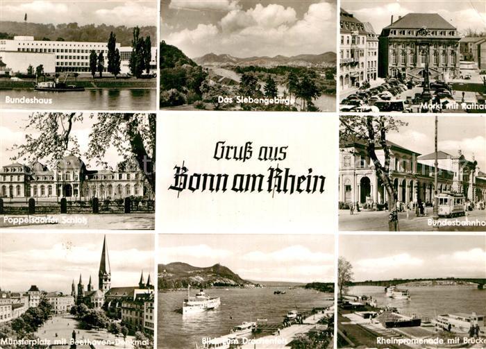 AK / Ansichtskarte Bonn Rhein Bundeshaus Schloss Muensterplatz Beethoven Denkmal Siebengebirge Markt Rathaus Bahnhof Rhein Promenade Kat. Bonn