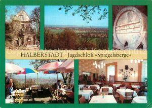 AK / Ansichtskarte Halberstadt Jagdschloss Spiegelsberge Fass Freiterrasse Gaststaette Kat. Halberstadt