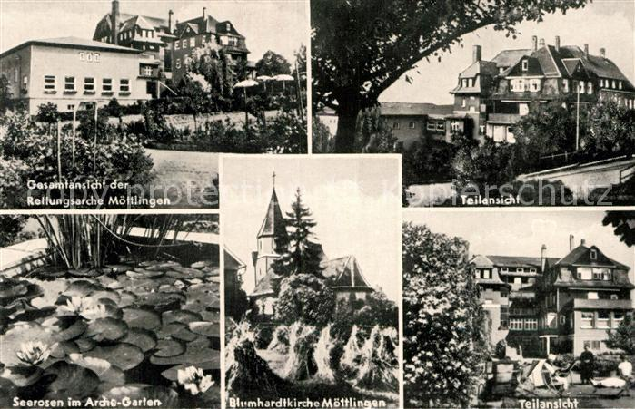 AK / Ansichtskarte Moettlingen Rettungsarche Teilansicht Seerosen im Arche Garten Blumhardtkirche Teilansicht Kat. Bad Liebenzell