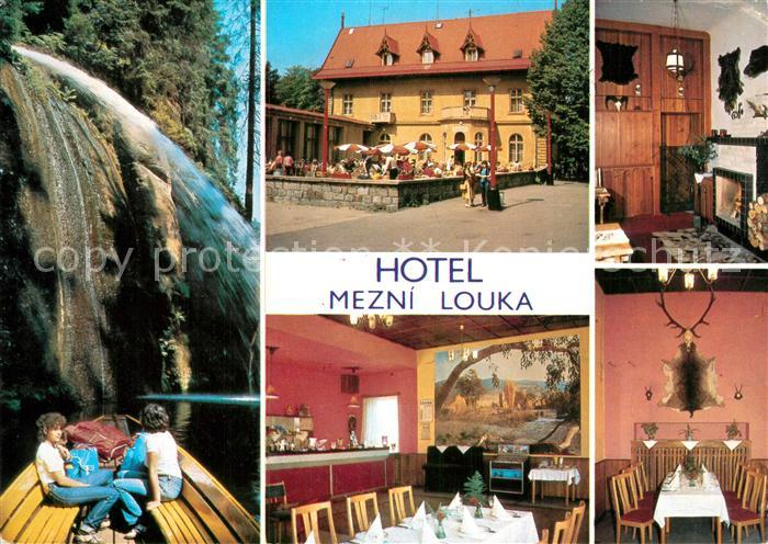 AK / Ansichtskarte Hrensko Hotel Mezni Louka Restaurant Wasserfall Kat. Herrnskretschen