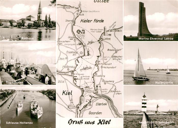 AK / Ansichtskarte Kiel Rathaus Marine Ehrenmal Laboe Tirpitzhafen Leuchtturm Friedrichsort Kat. Kiel