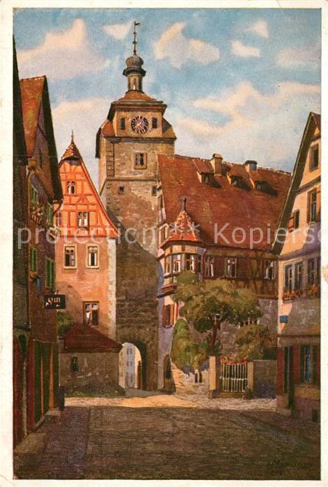 AK / Ansichtskarte Rothenburg Tauber Weisser Turm Tanzhaus Kuenstlerkarte Marschall Kat. Rothenburg ob der Tauber
